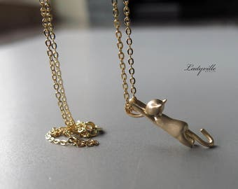 925 Gold Plated Necklace - Hanging Cat