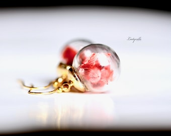 Red Flower Earrings - Sterling Silver Gold Plated