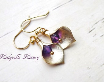 Earrings - Amethyst - Calla - gold