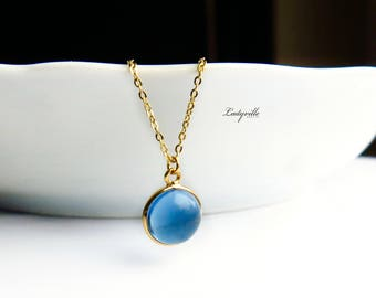 Necklace Sterling Silver Gold Plated with Water Sapphire Iolite