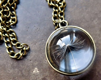 Necklace - Dandelion flower in a solid glass ball