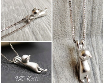 925 Sterling Silver Necklace - The hanging cat