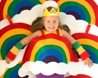 Kids RAINBOW COSTUME, toddle rainbow costume, rainbow party, kids, halloween costume + rainbow accessories, rainbow crown, rainbow gloves