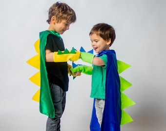 Kids Halloween DINOSAUR Costume Cape with spikes + dino spike accessory gloves - Ships Fast - 2 choice - Kids Halloween Dino Costume