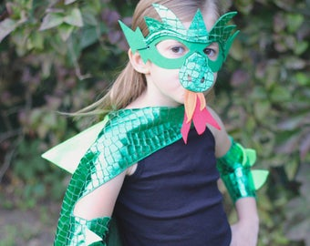 GREEN DRAGON Costume Cape with scales and spikes + optional Dragon Mask and Full Costume - Kids Halloween Dragon Costume