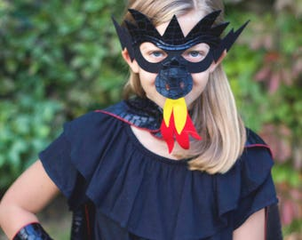 BLACK DRAGON Costume Cape with scales and spikes + optional Dragon Mask and Full Costume - Kids Halloween Dragon Costume