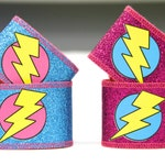 Superhero Costume Accessories - Kids Lightining Bolt or Super Star Sparkle Cuffs - Coordinated perfect with our capes
