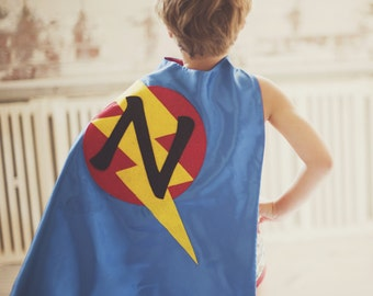 3323fbe00 FAST Delivery - Lots of Color choices - Kids Superhero Cape Personalized  double sided cape - Any Initial