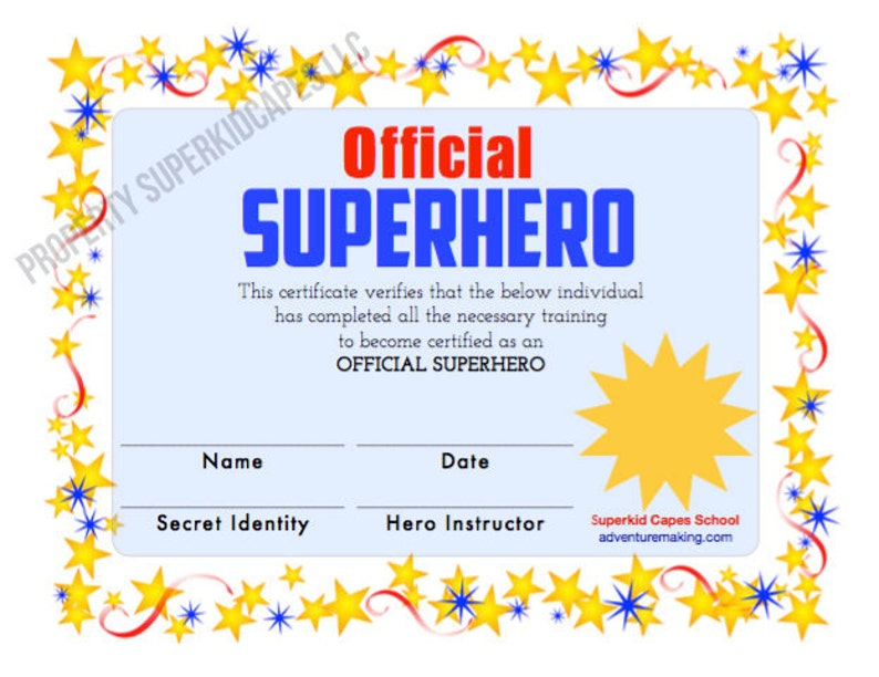 Superhero Certificate Instant Printable Download And Print Etsy
