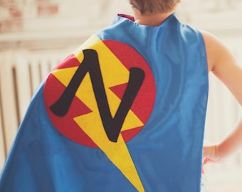 FAST Delivery - Lots of Colors - Kids Superhero Cape Personalized double sided cape - Any Initial - Kids Easter basket - Kid Halloween