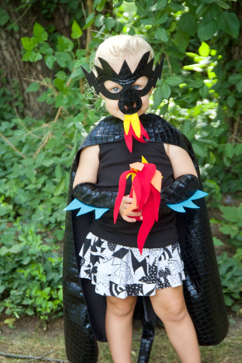 BLACK DRAGON Costume Cape with scales and spikes  optional image 0