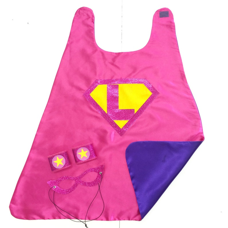 9b86d300c Girls CUSTOM INITIAL SHIELD Superhero Cape Fast Shipping | Etsy