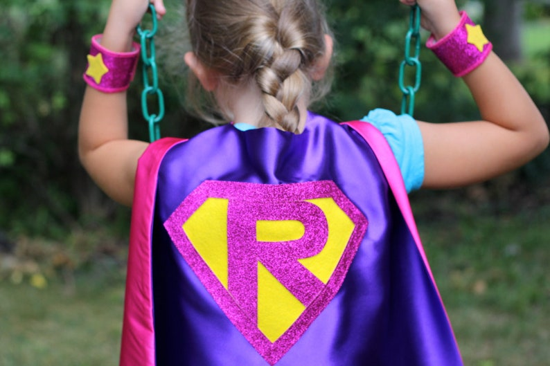 Kid Costume Personalized SUPERHERO CAPE with Custom Sparkle Shield Fast Delivery Kids Superhero Party Personalized Initial
