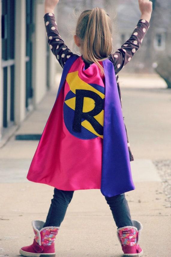 Superhero Birthday Gift. Girls Superhero Cape Superhero Name Cape Glitter Name Capes with Circle and Bolt Superhero Boy Superhero Girl