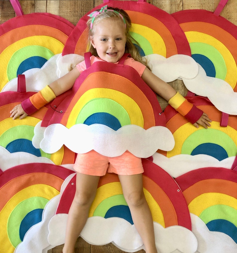 In stock ships fast  Childs RAINBOW COSTUME  Halloween ready image 0