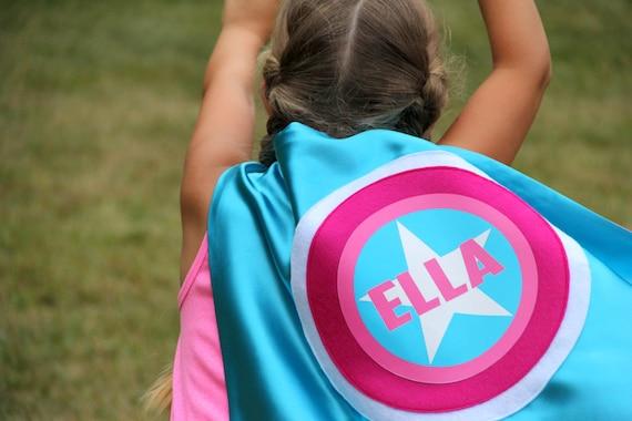 Girls Superhero Cape - Kids PERSONALIZED SUPERHERO Cape - Cool Mom Picks -  Full Name Customized Present