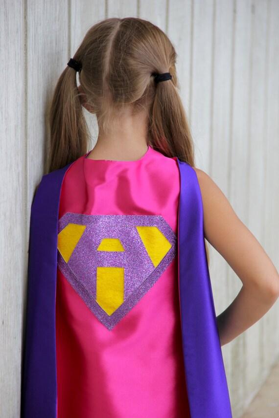 bd409733a Ships Fast - Girls Sparkle Custom LETTER SUPERHERO CAPE - Custom Initial -  7 color choices - Kids Halloween Costume