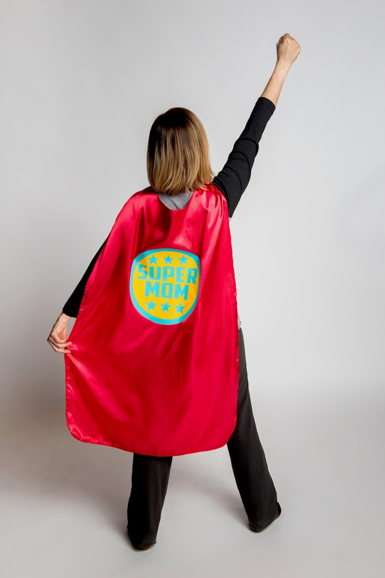 In stock and ships next day  SUPER MOM CAPE  Adult Superhero image 0