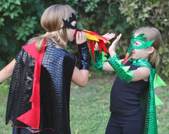 DRAGON Costume Cape with scales and spikes + optional Dragon Mask and Full Costume - Dress Up Costume - Kids Halloween Dragon Costume