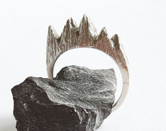 Mountain Ring narrow, Sterling Silver textured ring, nature inspired,  myths, textured, hand carved, unique, OOAK, Free Shipping in UK