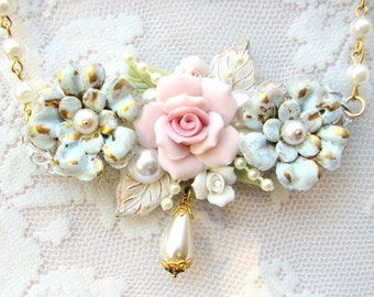 Shabby Roses Necklace - Shabby Chic Style Necklace - Shabby Roses Necklace - Gifts for Mom Sister Aunt BFF
