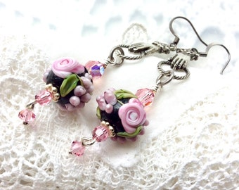 Pink Artisan Earrings - Pink Rose Lampwork Earrings - Pink Floral Dangle Earrings - Gift for Mom Sister Daughter Aunt BFF