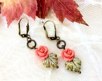 Pretty Rose and Leaf Earrings - Little Rose and Leaf Earrings - Pretty Pink Rose Earrings - Gift for Mom Sister Teen Niece Aunt