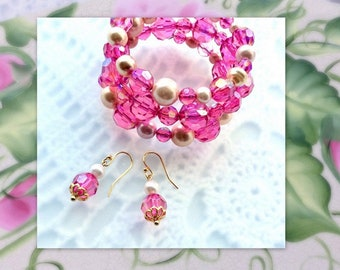 Pretty Pink Bracelet and Earring Set - Gifts for Her - Gift for Mom - Gift for BFF