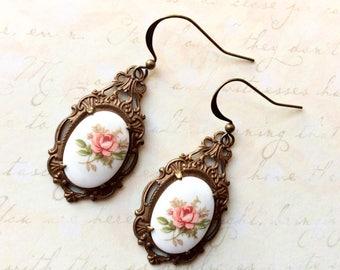 Peach Floral Earrings - Pretty Floral Earrings - Floral Cameo Earrings - Vintage Inspired Earrings