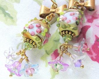 Pink Floral Earrings - Cute Garden Floral Earrings - Sweet Pink Flora Earrings - Gifts for Mom Sister BFF Boss