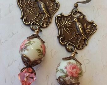 Dangle Floral Earrings - Bird Floral Earrings -  Vintage Inspired Earrings