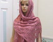 SALE KNIT , Shawl pashmina,Prayer shawl plum wine, original design, hand knitted in a soft, silky, light weight yarn,with a long fringe