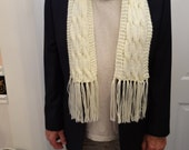 Handknitted, mens ,OFF WHITE SCARF unisex, extra long 75 inches, fringed, soft and silky, worsted weight, triple cable stitch