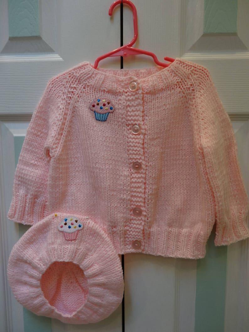 3f9292f1b PINK BABY SWEATER set 12 to 18 months acrylic yarn