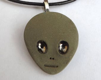 Jove - Little green man pendant necklace, alien head with silver eyes, quirky pendant, ceramic jewellery, porcelain jewellery, Sci fi lover