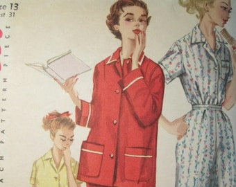 61a7487988 Simplicity 1325 vintage 1950 s Pajama Top and Pants Pattern - Vintage  1950 s Pajama set Pattern - 1950 s Sleepwear Pattern Size 13 Bust 31