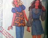McCalls 3683 Vintage 1970 39 s Puff Sleeve Mini Dress Pattern or Babydoll Top Pattern - Yoke Front Mini Dress Pattern -Size 10 Bust 32 1 2