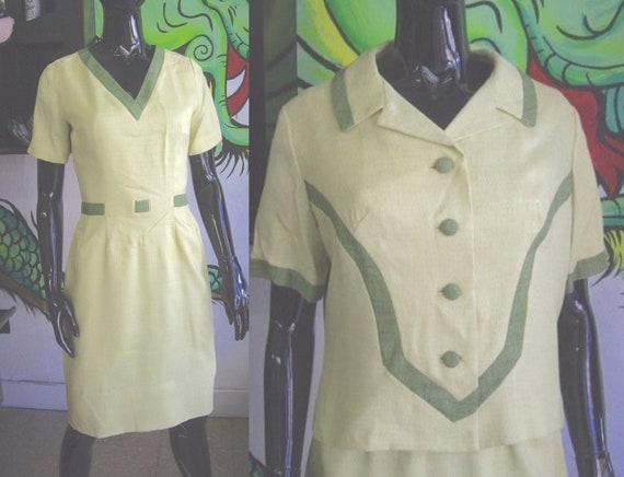 Vintage 1950's Women's Linen Dress - Alix of Miami
