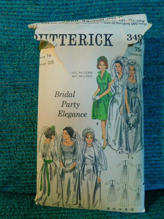 Butterick 3496 Vintage 1960 Brautkleid und Brautjungfer Kleid | Etsy