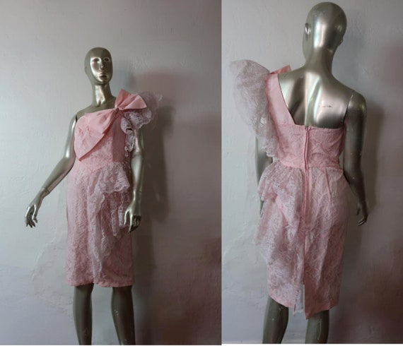 Vintage 1980's Pink Lace Prom Dress - 1980's One S