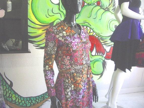 Vintage 1970's Dress - Bright Vintage Floral Shirt