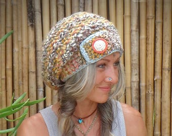 FALL Harvest Hat SLOUCHY Beanie SUN spirit button Crochet Earthy slouch hat Girls beret Winter Country Boho Baggy Hat Womens Hats GPyoga