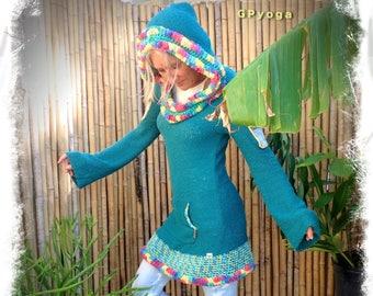 Teal HOODIE Sweater DRESS Tunic Pixie Fairy long Hooded robe Hippie Boho eco friendly womens sweater reclaimed fashion Plushy hoodie GPyoga
