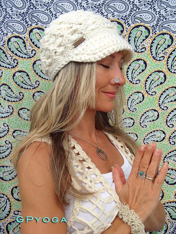 Creme VISOR Beanie häkeln Krempe Hut Damen Mode Off White