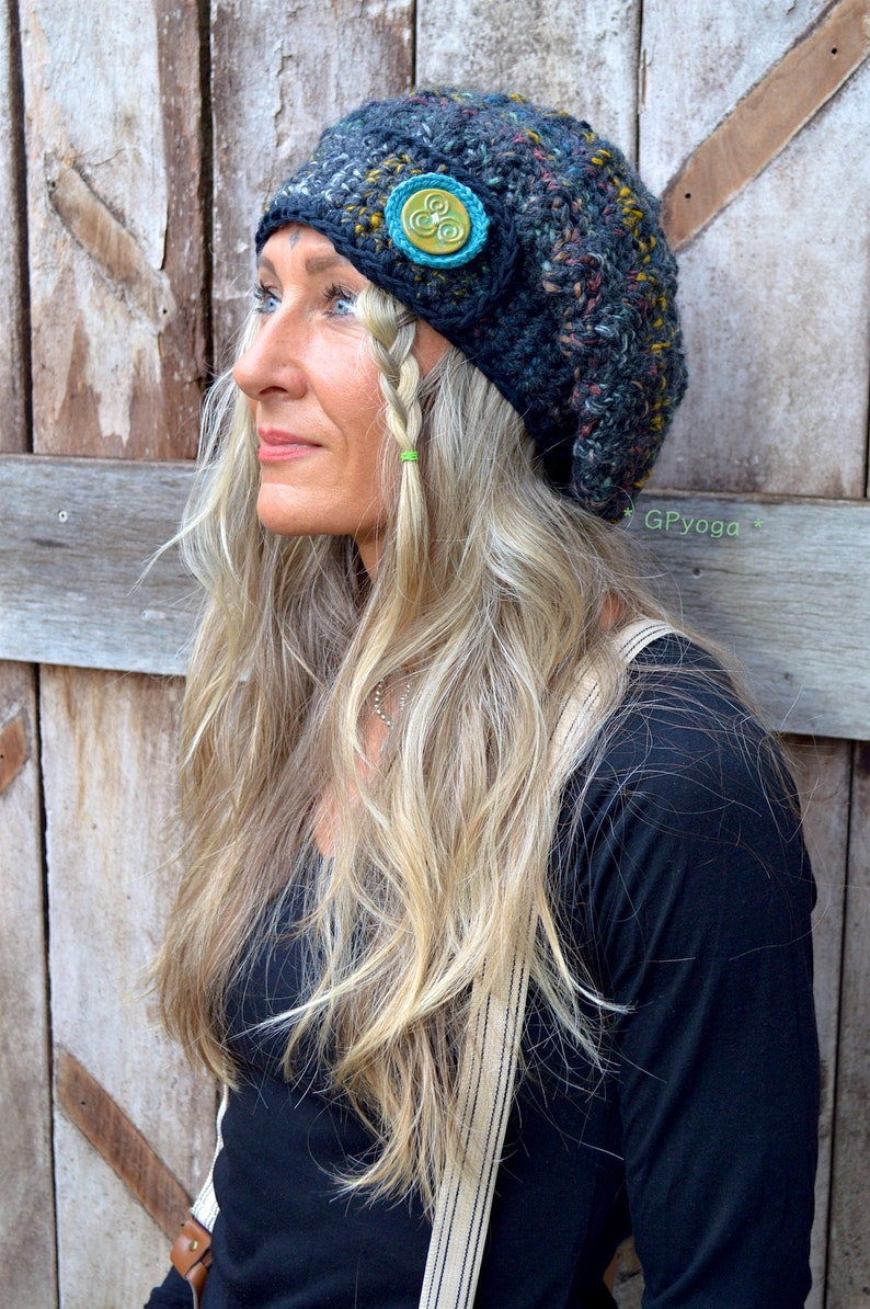 26ad4b9876f Midnight LIGHTS beanie Hat SLOUCHY Beanie Celtic button