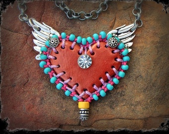Winged HEART Necklace LOVE necklace Red Heart pendant Valentine necklace ANGEL Wings Statement necklace