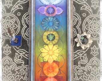 Cosmic Energy LOTUS CHAKRAS painting YOGA art reiki Home decor wallart spiritual Meditation painting original painting Happy Rainbow GPyoga