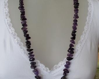 Amethyst baroque cut bead necklace