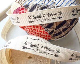 CUSTOM - Half Inch SPOOL Twill Ribbon - Flat or Folded, Printed Sew-in Fabric Label (natural or white)