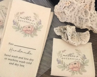 CUSTOM - One and One-Half Inch CUT Twill Ribbon - Flat or Folded, Printed Sew-in Fabric Label (natural or white)